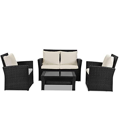 SMLJFO - Set di mobili da giardino in rattan, set di mobili da giardino con tavolo e sedia a 4 posti, 2 poltrone, 1 divano Loveseey, 2 sedie, 1 tavolino da caffè in vetro con cuscini (nero)