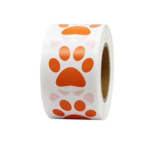 Hcode 1.5' Round Orange Bear Paw Print Stickers Dog Puppy Paw Stickers Bear Paw Stickers 500 Pieces per Roll (1 roll, Orange)