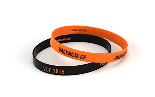 Pulsera Valencia Club de Fútbol Relieve Naranja y Negra Estándar para Hombre | Pulsera Valencia de silicona | Apoya al Valencia CF con un producto oficial | VCF