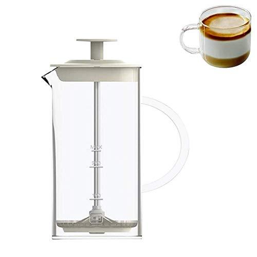 Montalatte 450ML Doppio dell'Acciaio Inossidabile Mesh Montalatte, Vetro Trasparente Handheld Montalatte Vetro borosilicato Milk Foamer con Maglia fine Sieve caffè Frother WTZ012