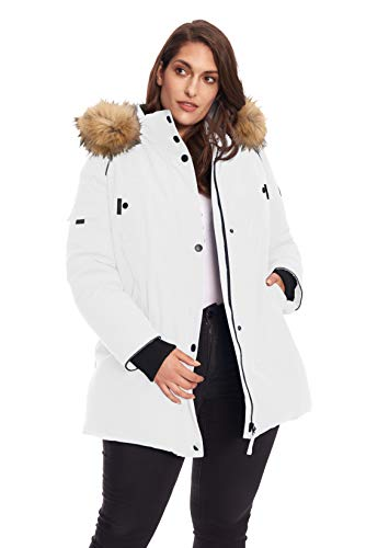Alpine North Women's Plus Vegan Size Down Mid Length Parka Jacket with Faux Fur Hood, White, 2X