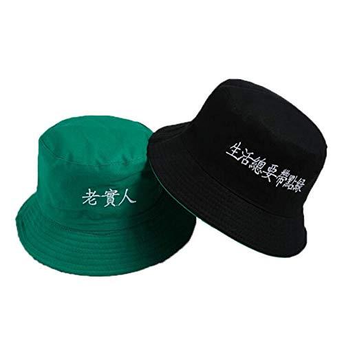Bucket Hat Chapeau Lettre Broderie Chapeau De Seau Réversible Casquette Deux Côtés Porter Chapeau D'Été Coton Chapeau De Pêche Sports De Plein Air Plage Panama Hommes Adultize Color10