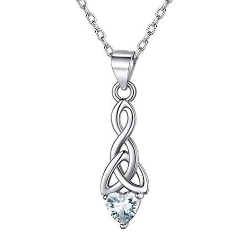 ChicSilver Piedras Corazón Blanco Collares Modernos Nudo Celta Triángulo Cadenas Antialérgicas 18 Pulgadas Plata de Ley 925 Regalo Cumpleaños Abril Diamante Joyería Deliciosa para Mujeres