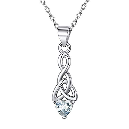 ChicSilver 925 Sterling Silver Celtic Trinity Knot Necklace White Diamond Crystal Cubic Zirconia April Birthstone Heart Shape Irish Pendant Necklace for Women Teen Girls