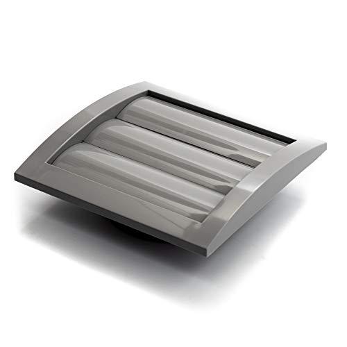 Vent Systems Tapa de ventilación gris de 10 cm / 100 mm para secadora y tubo de ventilación del baño. Rejilla exterior blanca. Mantenga alejados a los insectos, pájaros y roedores