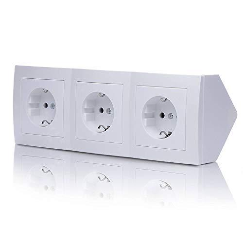 Steckdose für Küche und Büro – Ecksteckdose in weiß aus hochwertigem Kunststoff ideal für Arbeitsplatte, Tischsteckdose oder Unterbausteckdose mit 3-fach Steckdosenelement Küchensteckdose
