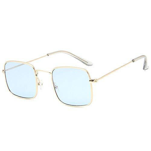Powzz ornament Nuevas gafas de sol cuadradas para mujer, gafas de sol Retrocon monturametálica, gafas de sol para hombre,Gafas De Sol Vintage para Mujer, azul dorado