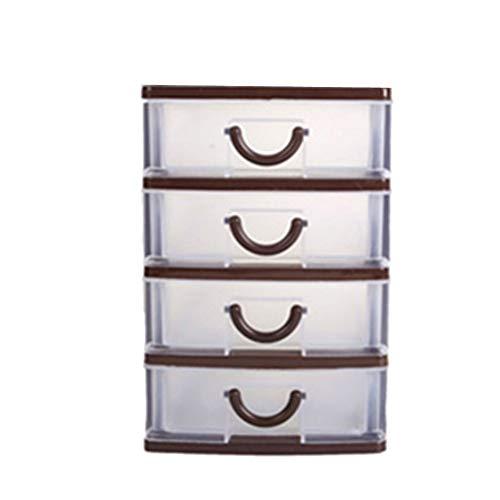 Ruankenshop Maquillaje Organizador Organizador De Cosmeticos Cajas De Metacrilato Complementos BañO Organizador Escritorio Blanco Encimera Brown,4 Floors
