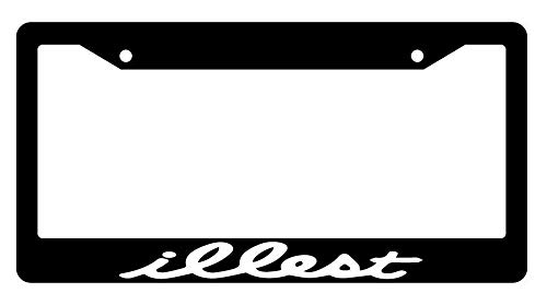 License Plate Frames, Black License Plate Frame Illest JDM Auto Accessory Applicable to Standard car Rust-Proof Rattle-Proof Weather-Proof License Plate Frame Cover 15x30cm