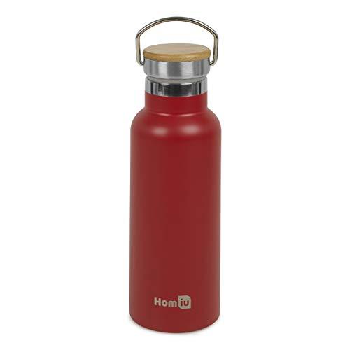 Homiu Wasserflasche mit Tragegriff Isolierte Doppelwandige Heiß- oder Kaltwasserflasche Edelstahl Vakuum Flasche wiederverwendbar (rot, 500ml)