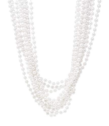 """24 Pack Pearl Necklaces For Women - Realistic Looking Fake Pearl Necklace Costume Jewelry - Tea Party Favors & Great Gatsby Party Decorations - Each Necklace Includes 7mm Faux Pearls On 48"""" Strand"""