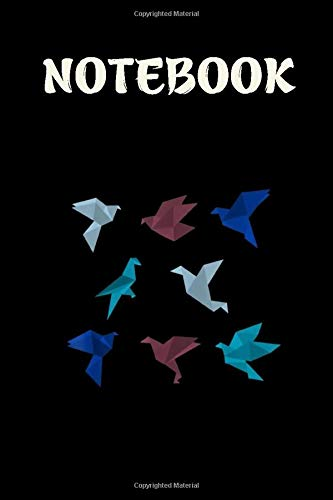 Notebook - Origami Paper Crane: 6in x 9in x 114 Pages White Paper Blank Journal with Black Cover Perfect Size