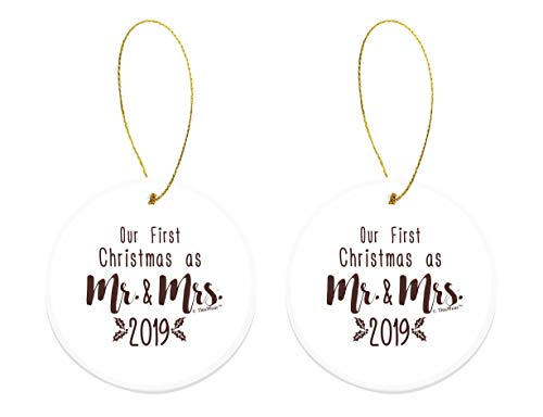 2019 Christmas Ornaments Our First Christmas as Mr. & Mrs. 2019 Round Ceramic Ornaments White 2-Pack
