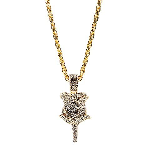 Collar Collar Con Dije De Flor De Rosa De Cristal, Collar De Compromiso Para Mujer, Cadena Brillante, Joyería De Hip Hop, Regalo Para Amigos