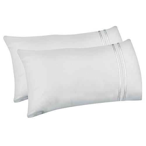 Lirex 2-Pack Fundas de Almohada, Tamaño 50 cm x 75 cm Fundas de Almohada de Microfibra Suave Cepillada, Transpirables sin Arrugas y Lavables a Máquina (Blanco, Queen)