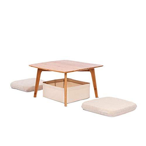 Tavolino da caffè multifunzione Bamboo Tavolino da tè creativo con due cuscini per soggiorno casa e ufficio