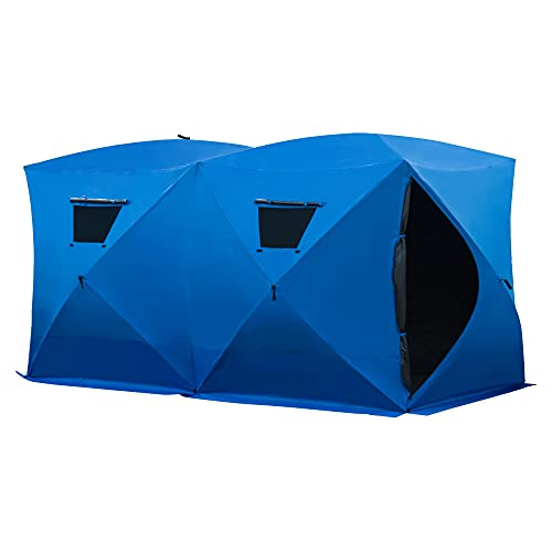 Outsunny 8 Person Ice Fishing Shelter Insulated Waterproof Portable Pop Up Ice Tent with 2 Doors for Outdoor Fishing, Blue