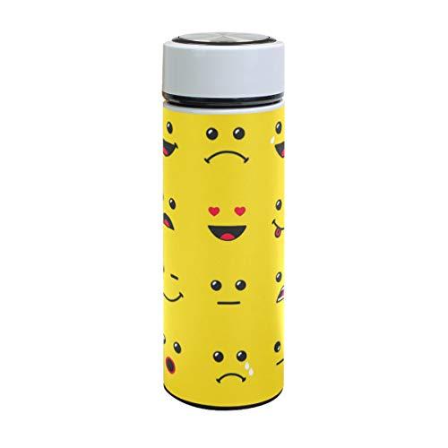 Emoya Vakuumisolierte Flasche Emoji-Gelb, Edelstahl Wasserflasche Doppelwandig auslaufsicher für heiße Kälte, 500 ml