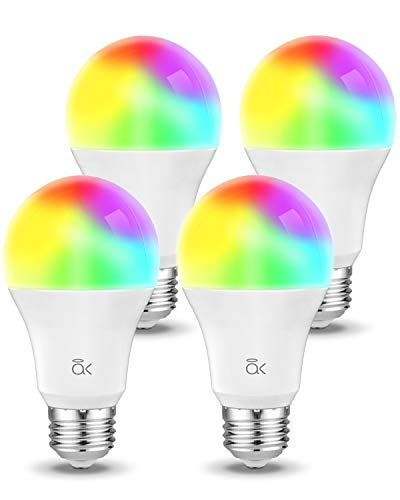 Smart Light Bulb, Works with Alexa, Echo, Google Home and Siri, AL Abovelights Dimmable E26 9W Wi-Fi LED Smart Bulb, Warm White (2700K), 60W Equivalent, 810 LM, RGB+W, ETL Listed (4-Pack)