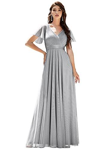 Ever-Pretty Vestito da Festa Donna Linea ad a Tulle Abito da Sera Scollo V Lungo Cerimonia Grigio 36