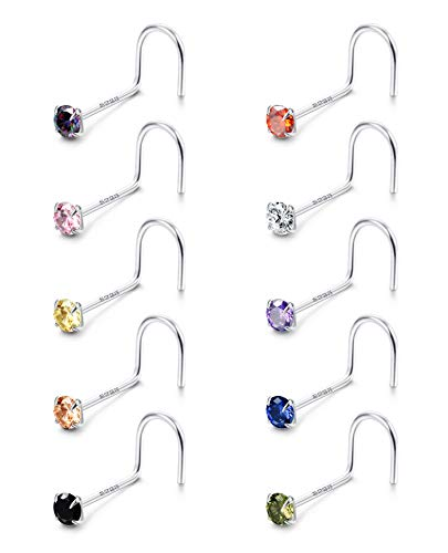 Fiasaso 10Pcs 20G 925 Sterling Silver Screw Nose Rings Studs for Women Colorful CZ Nose Piercings Body Jewelry 1.5MM 2MM 2.5MM 3MM