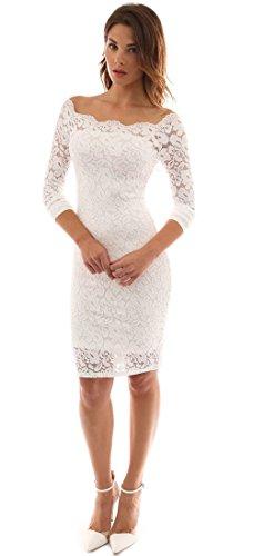 Mangotree Damen Sommerkleid Vintage 50S V-Ausschnitt Schulterfreies Cocktailkleid Floraler Spitzenkleid Ladies Knielang, M, Weiß