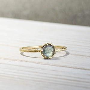 14K Solid Gold Dainty, Minimalist Labradorite Ring