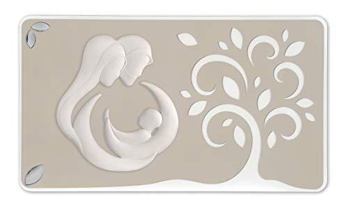 MAZZOLA LUCE CAPEZZALE Moderno Sacra Famiglia Albero della Vita 105X60 Bianco Tortora Quadro per Camera da Letto