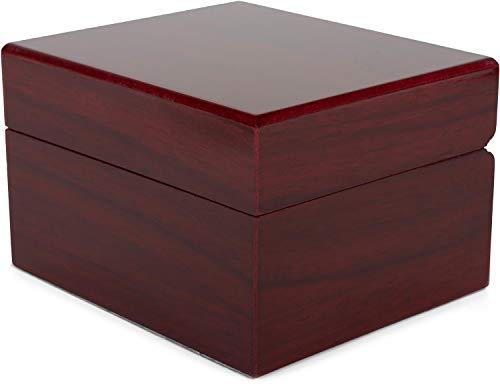 styleBREAKER Schmuckschatulle in glänzender Holz Optik für Schmuck, Anhänger, Ketten oder Armbänder zum aufklappen, Geschenkbox 05050080, Farbe:Rotbraun