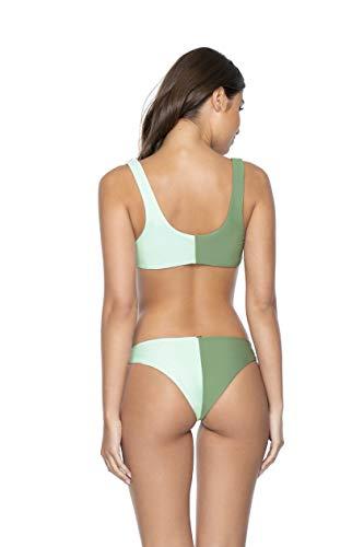 PQ Swim Women's Azura Two Tone Bikini Swimwear Bottoms - Low Rise, Cheeky Coverage - Teeny, Medium