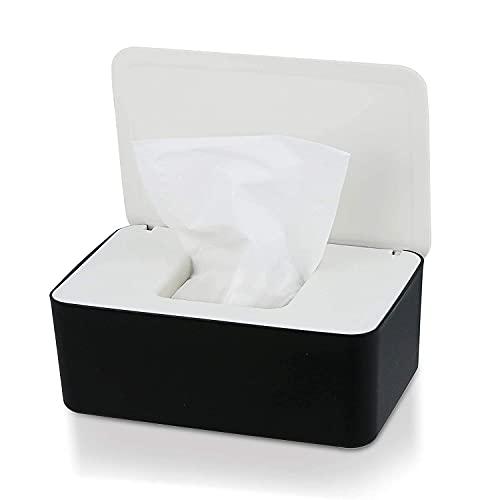 Caja de pañuelos, caja dispensadora de toallitas con tapa para escritorio en el hogar (blanco)