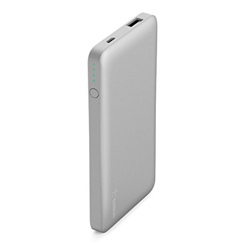 Belkin Pocket Power Bank 5000 mAh Fast, Portable Charger (Certified Safety) for iPhone X/8/7, iPad, Samsung Galaxy S9/S8/S7, Silver