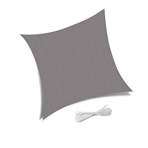 Patio Shack Sonnensegel 3x3 Meter Quadratisch Wasserdicht, UV Schutz Polyester Wasserabweisend Sonnenschutz für Garten Balkon und Terrasse, Grau