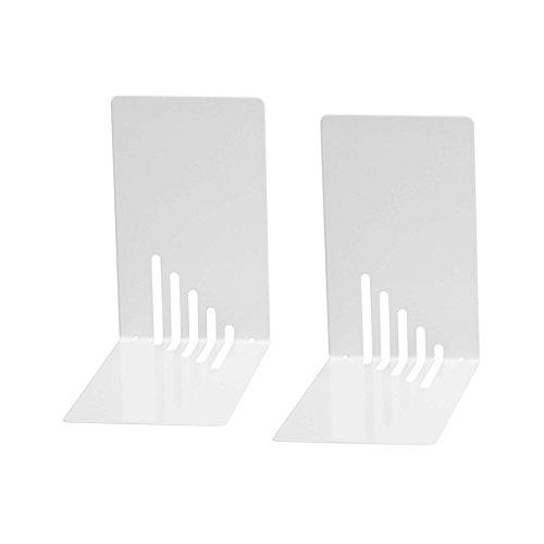 Wedo 1021000 Reggilibri in Metallo, Stretti, 14 x 8,5 x 14 cm, Bianco