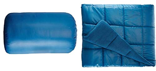 "Waterproof Quilted Down Alternative Outdoor Throw Blanket 50"" x 60"" Packable with Travel Sack Stadium Blanket Blue"