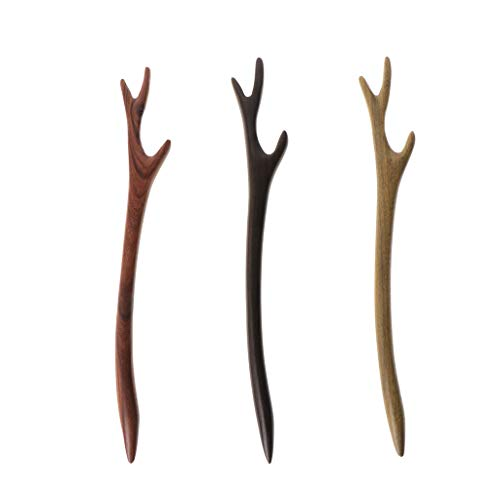 Price comparison product image cici store Ebony Hairpin Chinese Style Retro Hair Stick Antler Natural Wood Jewelry Vintage Black