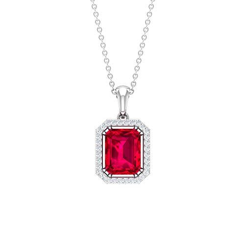 Rosec Jewels 18 quilates oro blanco redonda Octagone Red Ruby Diamond