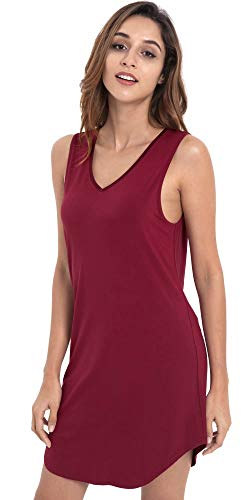 LazyCozy Women's Bamboo Nightgown Sleeveless Nightshirt Soft Sleepwear, Wine, Medium