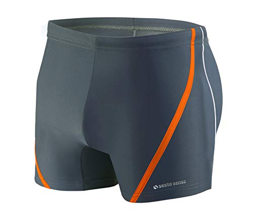 Sesto Senso Pantaloncini da Bagno Uomo Costume Boxer Calzoncini Pantaloni Swim Shorts BD 366 L Grafite