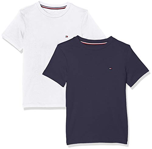 Tommy Hilfiger 2p CN Tee SS Top Pigiama, Blu (Navy Blazer/White 0xt), 12-14 Anni (L) Bambino