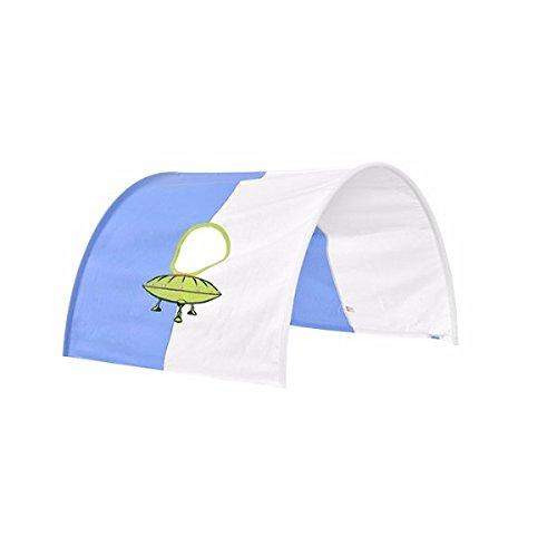Tunnel voor hoogslaper tunnel voor hoogslaper en stapelbedden, tunnelboogtent verbergen holte bed tent beddak speeltunnel voor kinderbed stapelbed hoogslaper speelbed motief: ruimteruimte, kleur: blauw / wit