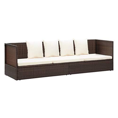 pedkit Tumbona sofá de jardín con Cojines ratán Tumbona de Jardín Exterior/Interior para Balcón Patio Piscina Terraza Playa sintético marrón