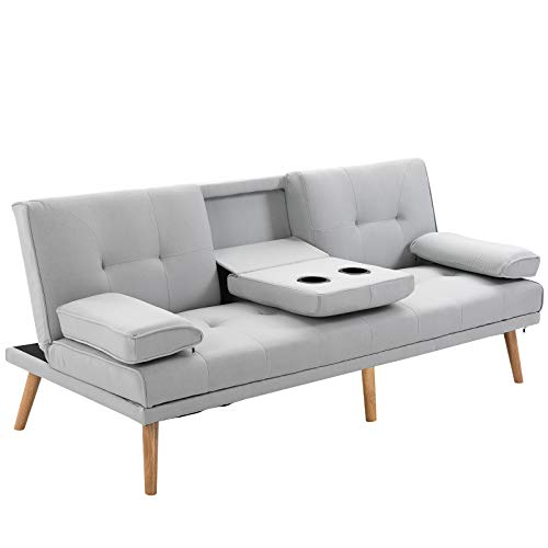 HOMCOM 3 Seater Sofa Bed Scandi Style Recliner Thick Cushions Convertible Adjustable Split Back Middle Table w/Armrest Cup Holder 72H x 181W x 77Dcm