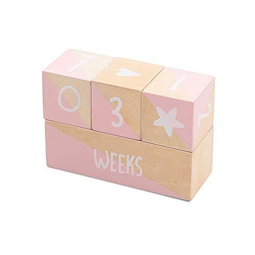Jollein 114-001-65335 Blocs en bois pour décoration de bébé Rose 18 x 12,7 x 7 cm
