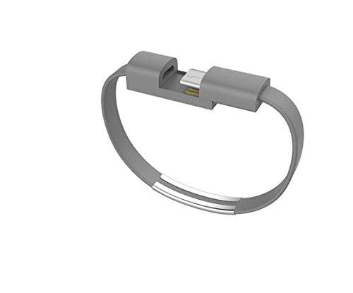 Youbo - Braccialetti USB tipo C, cavo dati di ricarica per Xiaomi Mi6 A1 Mix 2s per Samsung Galaxy S9 e OnePlus 6, 2 unità grigio