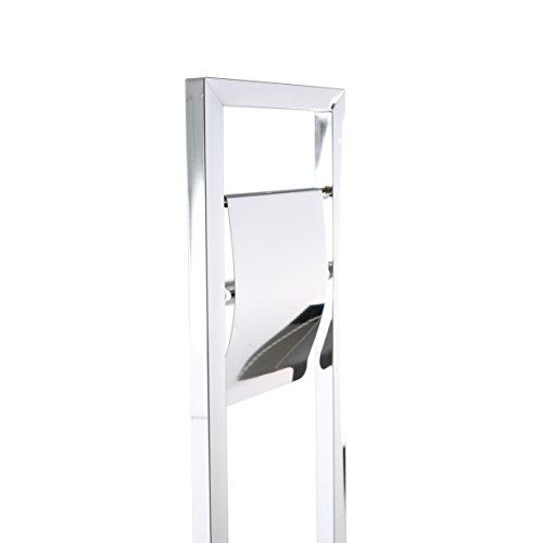 Axxentia Bad Ondor 282254 Set da Bagno Cromato, con Porta Rotolo Carta igienica e Manico in Metallo, con Tubo quadrangolare, Altezza 75 cm
