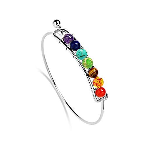 YAZILIND 7 Chakra Reiki curación Yoga Equilibrio Pulsera 6mm Energía Piedra Natural Perlas Pulseras de Cuerda Trenzada(#1)