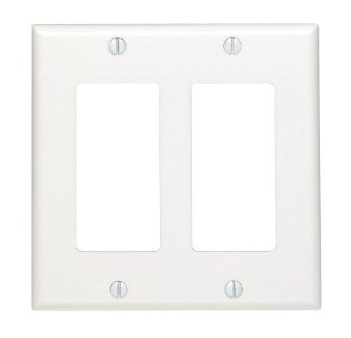 Leviton 80409-W 2-Gang Decora/GFCI Device Wallplate, Standard Size, Thermoset, Device Mount, White