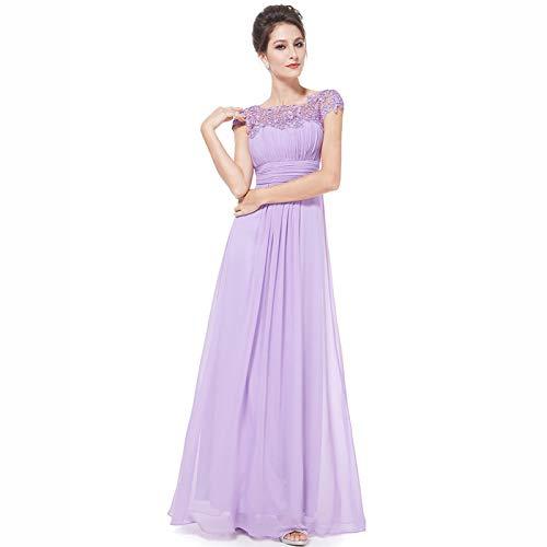 DHF Femenino Lacey Escote Abierto Atrás Vestidos de Noche Busto Ruchado (Color : Violet, Size : XXL)