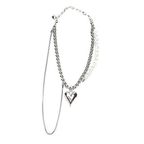 Wosune Collar con medallón de corazón, Accesorios de joyería, Collar de Cadena, Collares en Capas, Ajustable, Grueso y Brillante para cumpleaños para Madres